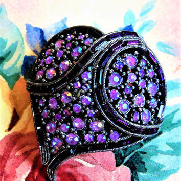 Purple Witch's Heart Brooch,Aurora Borealis Rhinestone Heart Brooch, Abstract Heart Brooch, Vintage Heart Pin and Box, Purple Heart Brooch