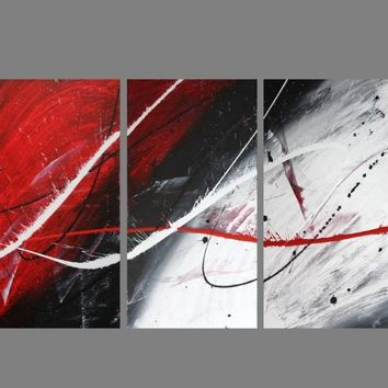 Abstract art canvas painting   red black white. Wall art paintings