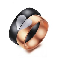 Heart Alliance Female/Male Romantic His and Her Wedding Love Ring Jewelry  Men's and women's ring