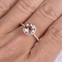 14k Morganite Round Ring