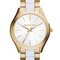 Women's Michael Kors 'Slim Runway' Round Bracelet Watch, 42mm - Gold/ White