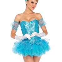 Sexy Ladies Five Piece Blue Sequin Corset with Tutu Skirt Halloween Costume