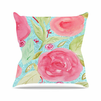 "Li Zamperini ""Spring"" Floral Pink Outdoor Throw Pillow"