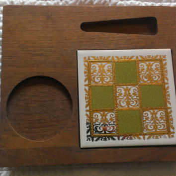 Serving Tray Wood with Tile Insert Knife and Ramekin Slots 1970's Entertaining Vintage Kitchen Accessory