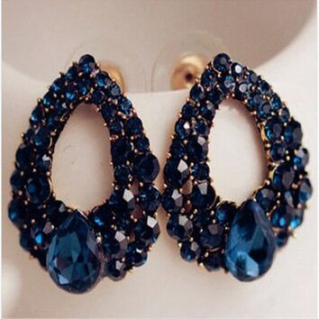 2015 Natural stone fashion black Blue big earrings jewelry Brincos gold earrings For girls summer style pendientes