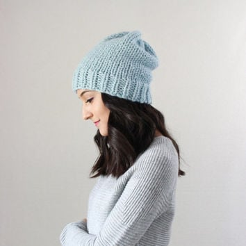 Classic Slouchy Chunky Knit Wool Beanie Hat, fall winter accessory, gifts for him her  // The Oslo Beanie hat - GLACIER