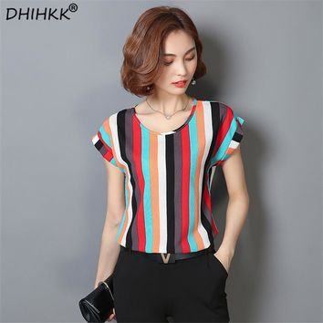 DHIHKK 2018 Summer Striped Print Chiffon Blouse O-neck Shirts  Short Sleeve Chiffon Tops Plus Size M-4XL Blusas Femininas