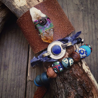 Boho tribal bangle set | Gemstone cuff | Tribal bead bracelet | Raw citrine cuff | Kuchi bangle | Bohemian bracelet | Gypsy bangles