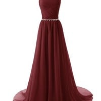 Dressystar Straps Bridesmaid Dresses Beaded Pleated Chiffon Gowns Size 2 Blush