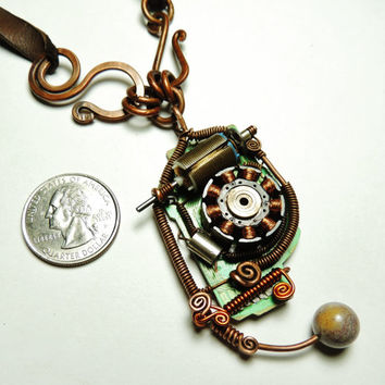 Steampunk wire necklace handmade - wire copper- leather- motor - rotor - geek - cyberpunk - by keoops8