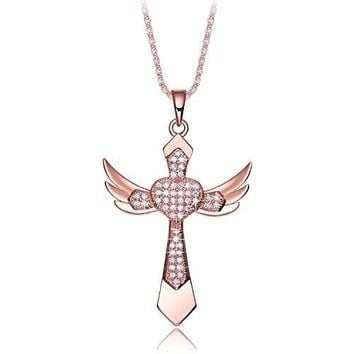 "SHIP BY USPS: NEEMODA ""Chivalry"" Angel Wings Cross Pendant Necklace Hand-inlaid AAA Cubic Zirconia"