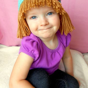 Cabbage Patch Hat  Aqua Photo Prop  Baby Wigs  Halloween Costumes