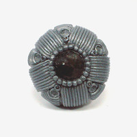 Grey Vintage Style Ring Polymer Clay Handmade Jewelry by biesge