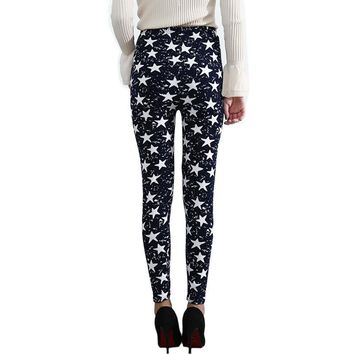Star Floral Pattern Leggings - High Waist Ladies Leggings