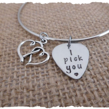 I Pick you - Mini Guitar Pick Dangle - Hand stamped jewelry - Personalized bracelet - gift for her - Heart - love - romance