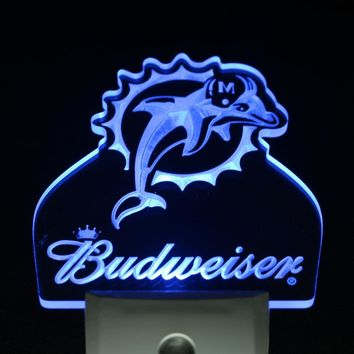 ws0158 Miami Dolphins Budweiser Bar Day/ Night Sensor Led Night Light Sign