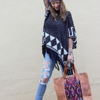 Southwest Geometric Fringe Hooded Poncho