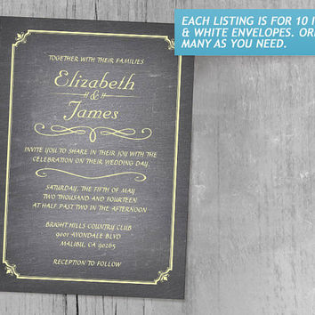 Yellow Chalkboard Wedding Invitations | Invites | Invitation Cards