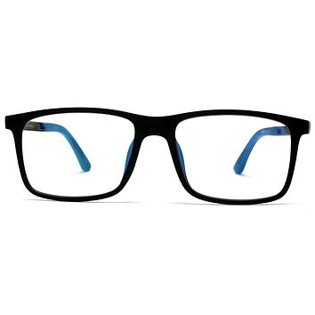Blue Blockers Computer Screen Horn Rimmed Glasses Anti Glare and Anti Scratch Break Resistant High Flexibility TR90 Black