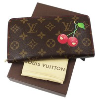 LOUIS VUITTON Monogram Cherry Porte Monnaie Zip Wallet Brown Red Auth #E303 M
