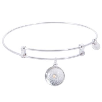 Sterling Silver Confident Bangle Bracelet With Mustard Seed Charm