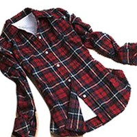 Women's Casual Lapel Flannel Blouse