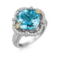 18K Yellow Gold and Sterling Silver Ring with Cushion Blue Topaz and Diamonds: Size 7