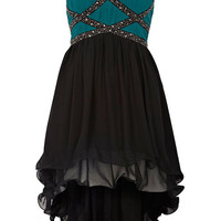 Teal and Black Embellished High-Low Sleeveless Dress