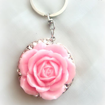 Pink rose keychain, folding purse hook, bag charm by Cel's Deconails