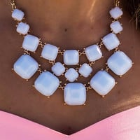 Isn't She Sweet Peach And Light Blue Square Stone Necklaces