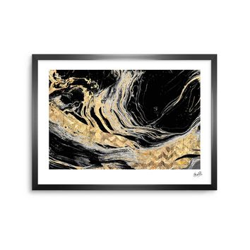 Gold Marble - Black Gold Modern Digital Framed Art Print