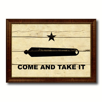 Revolution Come and Take It Military Flag Vintage Canvas Print with Brown Picture Frame Gifts Ideas Home Decor Wall Art Decoration