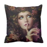 Fairy shush throw pillow