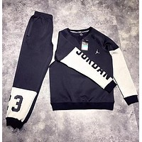 Air Jordan Trending Men Women Stylish Print Stitching Long Sleeve Sweater Pants Sweatpants Set Two-Piece Sportswear Black