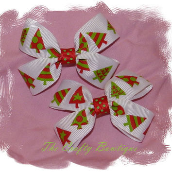 50% off Clippie PIgtail Hair Bow Set ~  Red White & Neon Green Christmas Trees, Baby Hair Bows, Christmas Hair Bows, Christmas in July