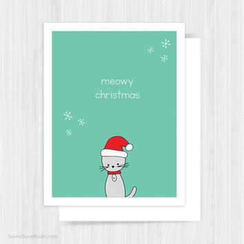 Cute Santa Cat Christmas Card For Friend Her Him Pun Funny Fun Merry Meowy Christmas Handmade Greeting Cards Illustration Gifts Gift Ideas