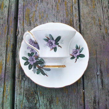 Vintage Society Fine Bone China Teacup and Saucer Made in England Purple Flowers