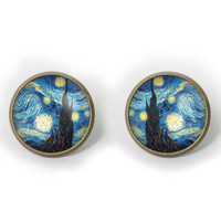 Handmade Vincent Van Gogh Starry Night earrings  Vincent Van Gogh post earringStarry Night Stud earrings Jewelry, Gift