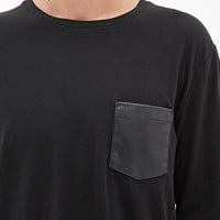 Faux Leather Pocket Tee