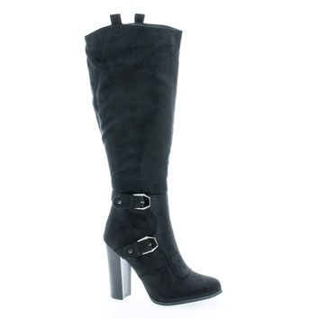 Emilia01 Almond Toe Knee High Stacked High Heel Boots