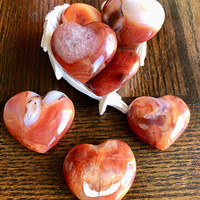 Carnelian Heart-STONE OF ACTION and Beautiful. Puffy Crystal Heart w/ Free Affirmation Card and Bag. Healing Crystals. Red Carnelian Heart