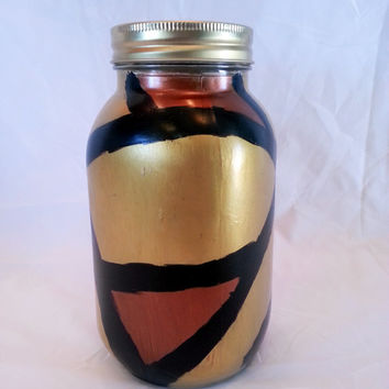 Red & Gold Bank- Mason Jar Bank- Painted Mason Jar-Mason Jar Decor