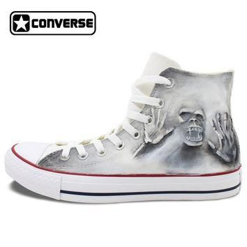 Gray High Top Converse All Star Skull Zombie Original Design Hand Painted