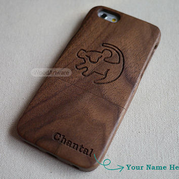 Wood iPhone 5 case, Custom iPhone 6 case, Wood iPhone 5S case, Wood iPhone 5c, disney iPhone4 case, Wooden iPhone case, Lion king simba - B2