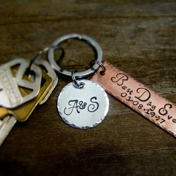 Best Day Ever Wedding Date Key Chain Set With Custom Hand Stamped Initial Medallian Great Gift Idea Anniversary Date