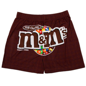 M&M's Candy Logo Boxer Shorts - Milk Chocolate Brown - Large