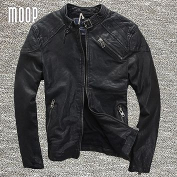 Black genuine leather jacket coat men 100% sheepskin motorcycle jackets chaqueta moto hombre veste cuir homme cappotto LT970