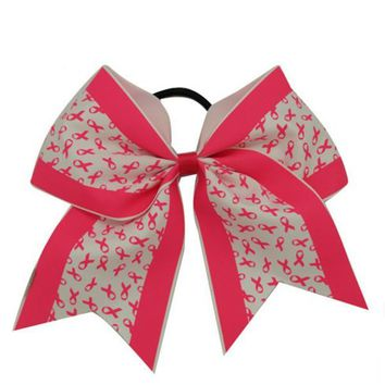 Breast Cancer Awareness Cheer Bow Rubber Band