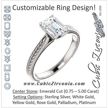 Cubic Zirconia Engagement Ring- The Dulcia (Customizable Emerald Cut Solitaire with Wheat-inspired Band Filigree)