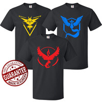 Pokemon GO T-shirt, Team Instinct, Team Mystic, Team valor, Pokemon Tshirt Fruit Of The Loom, Pokemon Go Logo Tshirts